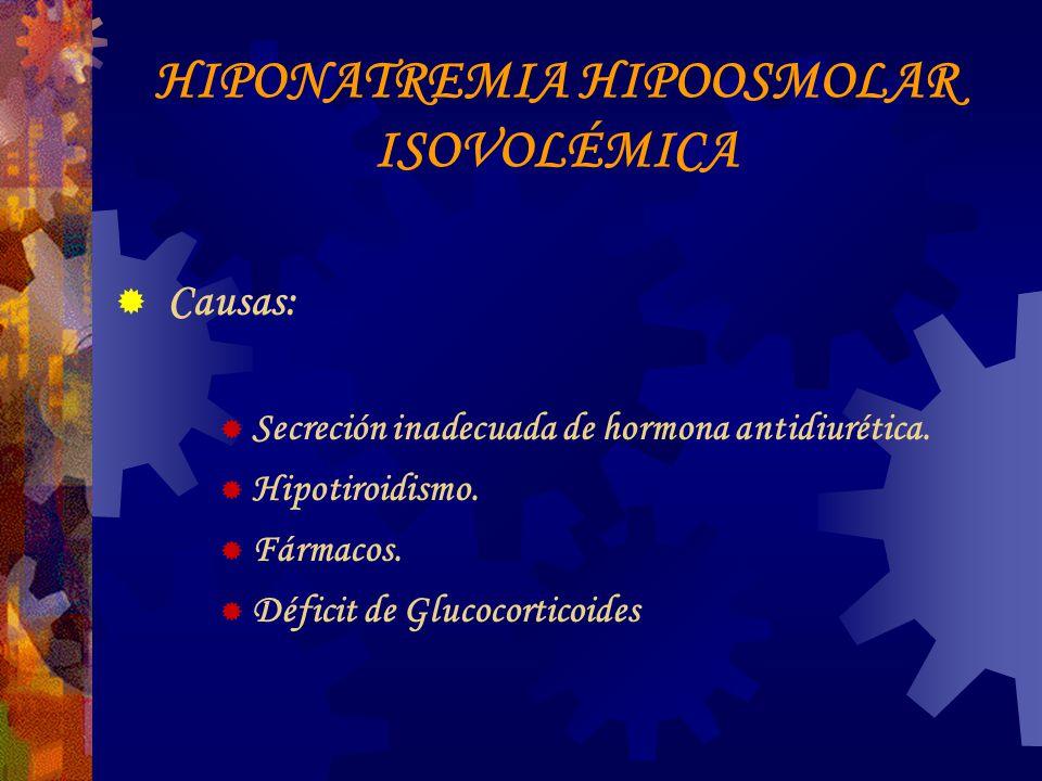 HIPONATREMIA HIPOOSMOLAR ISOVOLÉMICA Causas: Secreción inadecuada de hormona antidiurética.