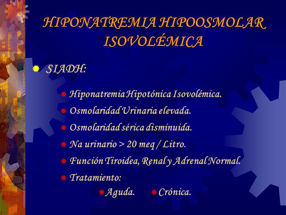 HIPONATREMIA HIPOOSMOLAR ISOVOLÉMICA SIADH: Hiponatremia Hipotónica Isovolémica.