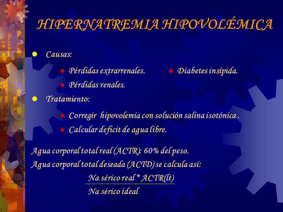 HIPERNATREMIA HIPOVOLÉMICA Causas: Pérdidas extrarrenales.