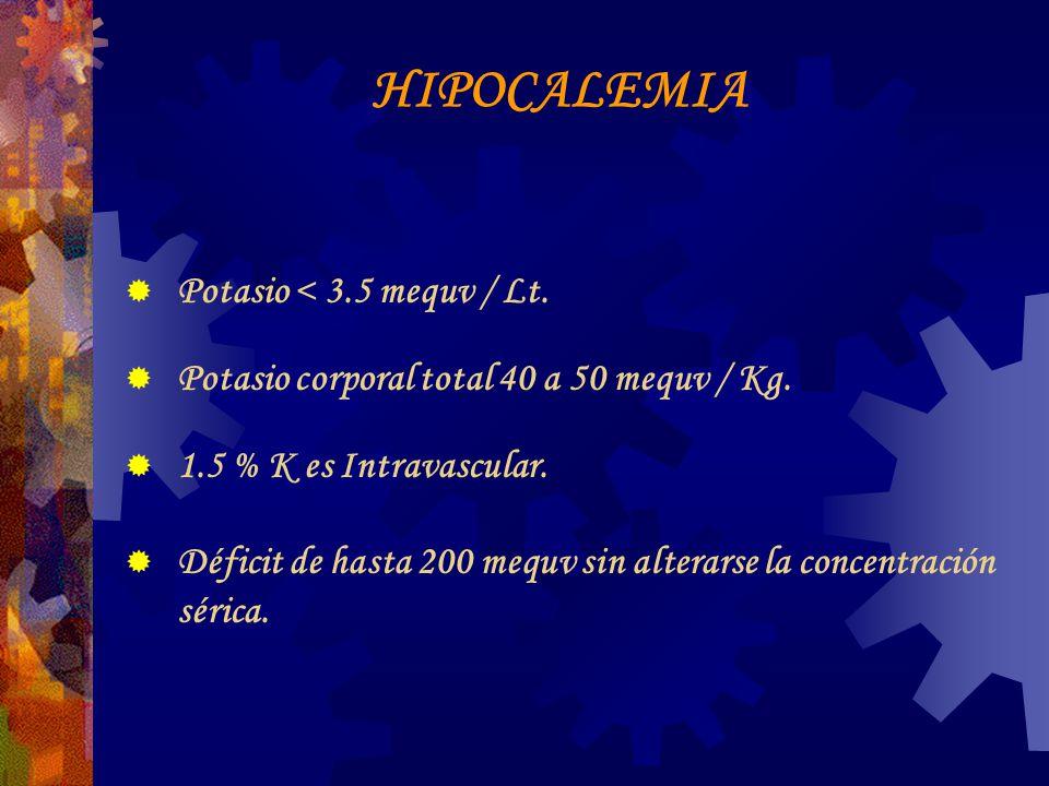 HIPOCALEMIA Potasio < 3.5 mequv / Lt.Potasio corporal total 40 a 50 mequv / Kg.