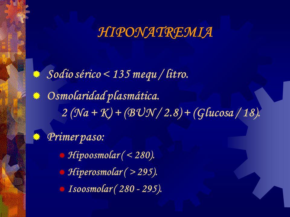 HIPONATREMIA Sodio sérico < 135 mequ / litro.Osmolaridad plasmática.