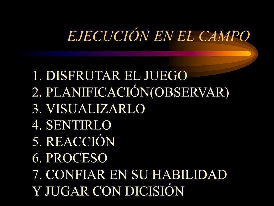 EJECUCIÓN EN EL CAMPO 1.DISFRUTAR EL JUEGO 2.PLANIFICACIÓN(OBSERVAR) 3.VISUALIZARLO 4.SENTIRLO 5.REACCIÓN 6.PROCESO 7.CONFIAR EN SU HABILIDAD Y JUGAR