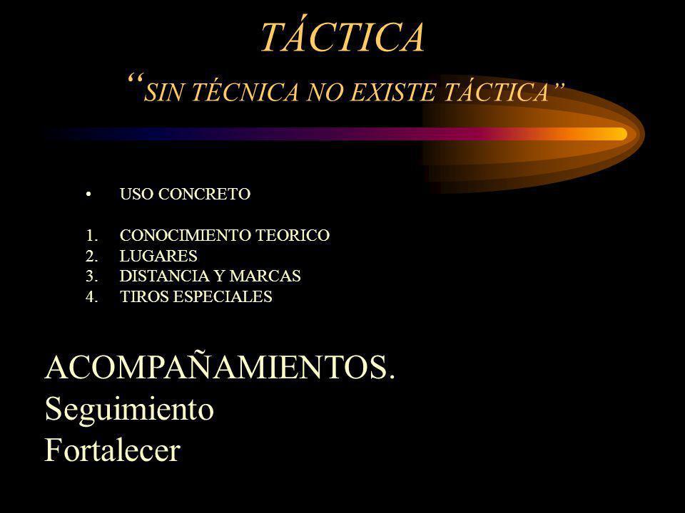 TÁCTICA SIN TÉCNICA NO EXISTE TÁCTICA USO CONCRETO 1.CONOCIMIENTO TEORICO 2.LUGARES 3.DISTANCIA Y MARCAS 4.TIROS ESPECIALES ACOMPAÑAMIENTOS. Seguimien
