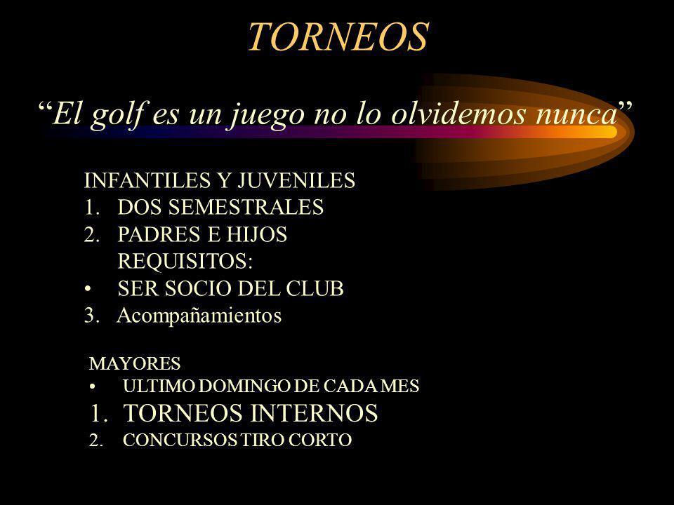 TORNEOS INFANTILES Y JUVENILES 1.DOS SEMESTRALES 2.PADRES E HIJOS REQUISITOS: SER SOCIO DEL CLUB 3. Acompañamientos MAYORES ULTIMO DOMINGO DE CADA MES