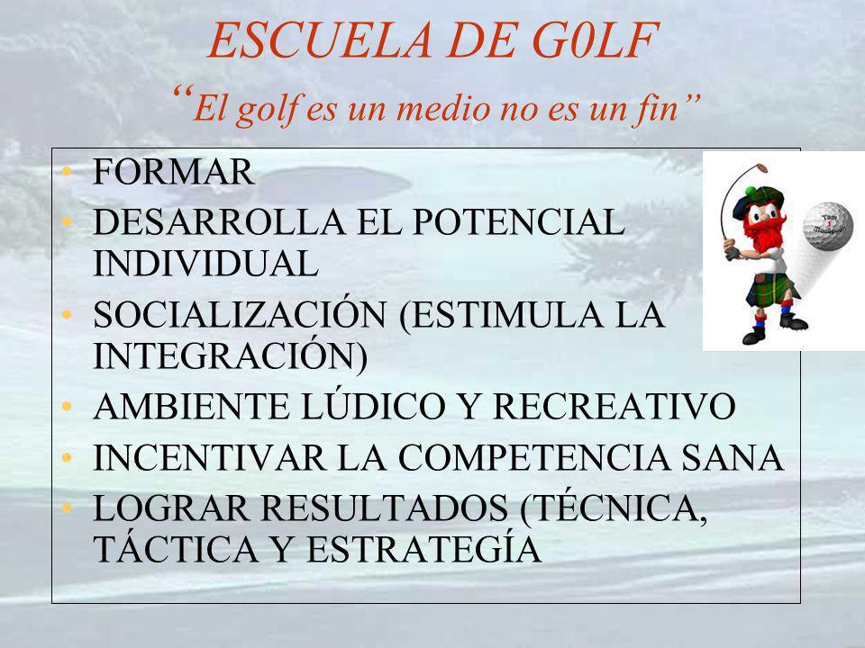ESCUELA DE G0LF El golf es un medio no es un fin FORMAR DESARROLLA EL POTENCIAL INDIVIDUAL SOCIALIZACIÓN (ESTIMULA LA INTEGRACIÓN) AMBIENTE LÚDICO Y R