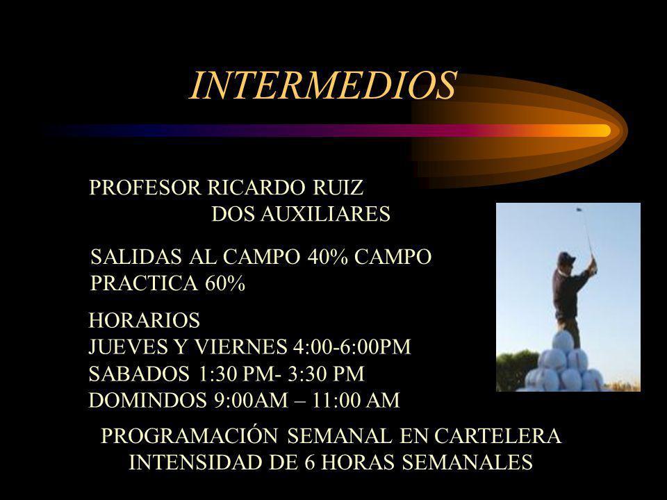 INTERMEDIOS PROFESOR RICARDO RUIZ DOS AUXILIARES SALIDAS AL CAMPO 40% CAMPO PRACTICA 60% HORARIOS JUEVES Y VIERNES 4:00-6:00PM SABADOS 1:30 PM- 3:30 P