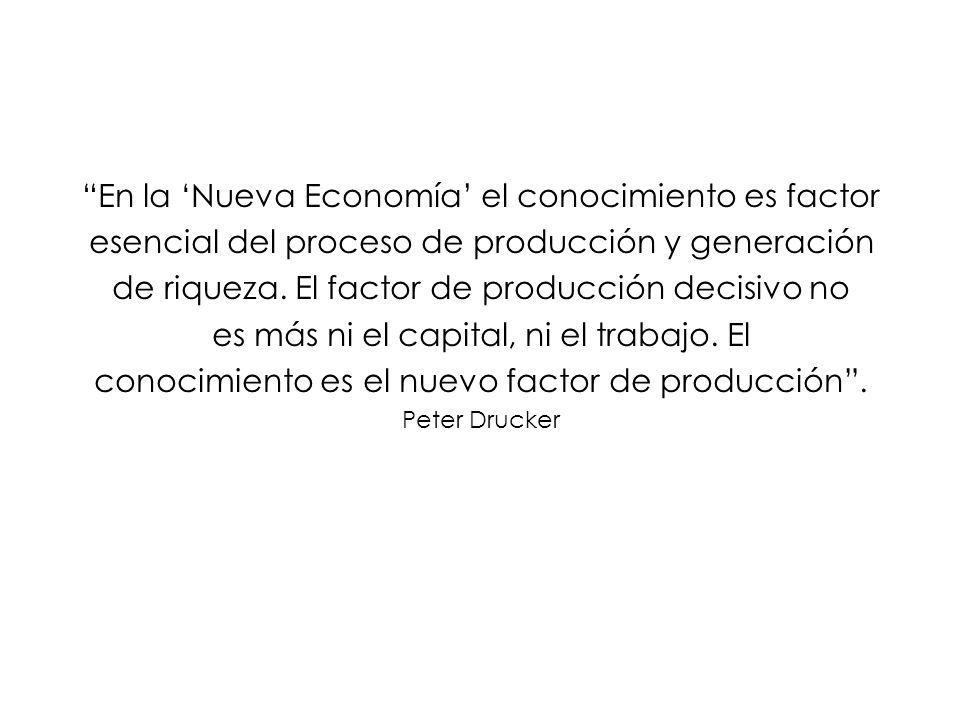 En la Nueva Economía el conocimiento es factor esencial del proceso de producción y generación de riqueza.