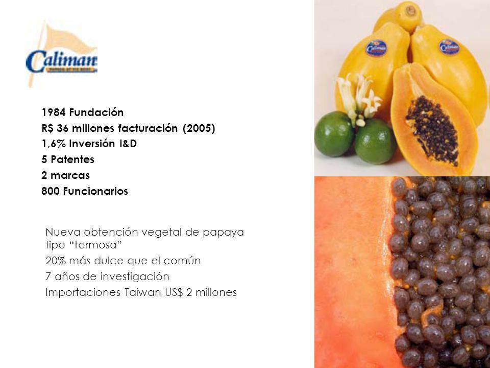 Nueva obtención vegetal de papaya tipo formosa 20% más dulce que el común 7 años de investigación Importaciones Taiwan US$ 2 millones 1984 Fundación R$ 36 millones facturación (2005) 1,6% Inversión I&D 5 Patentes 2 marcas 800 Funcionarios