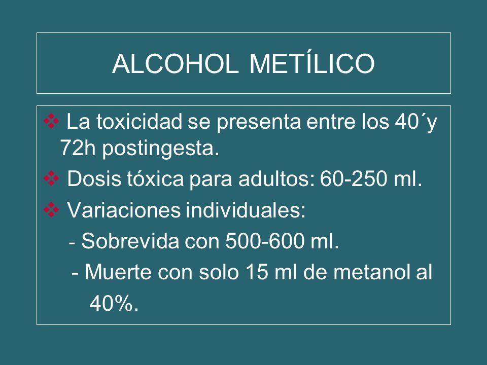 La toxicidad se presenta entre los 40´y 72h postingesta. Dosis tóxica para adultos: 60-250 ml. Variaciones individuales: - Sobrevida con 500-600 ml. -