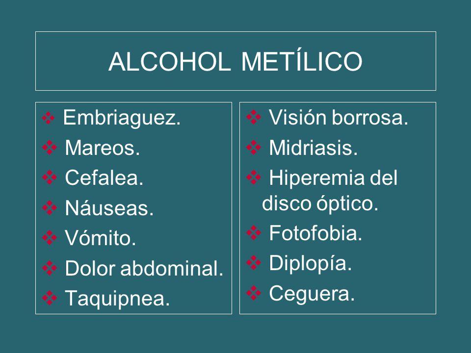 ALCOHOL METÍLICO Embriaguez. Mareos. Cefalea. Náuseas. Vómito. Dolor abdominal. Taquipnea. Visión borrosa. Midriasis. Hiperemia del disco óptico. Foto