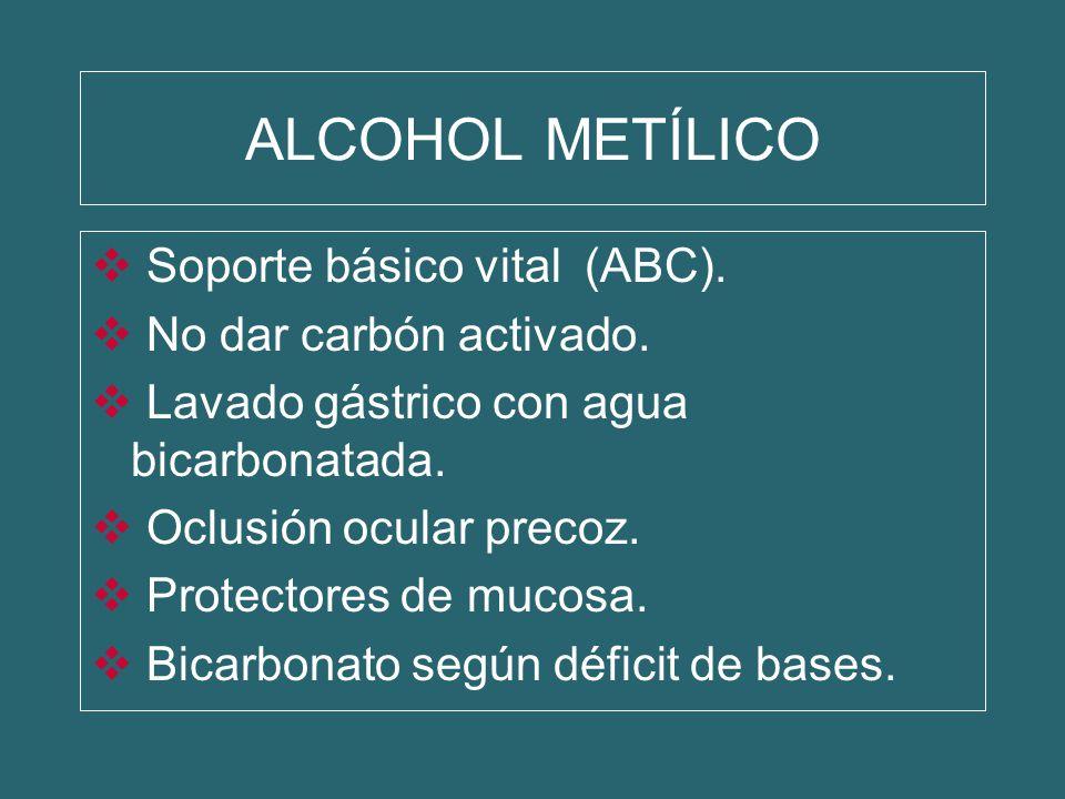 ALCOHOL METÍLICO Soporte básico vital (ABC). No dar carbón activado. Lavado gástrico con agua bicarbonatada. Oclusión ocular precoz. Protectores de mu