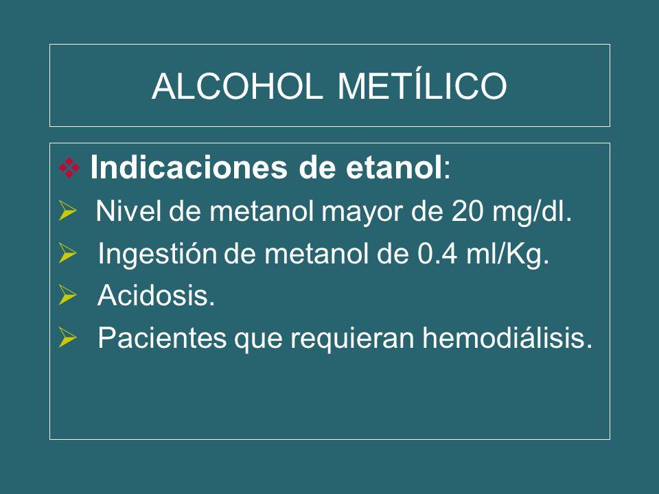 ALCOHOL METÍLICO Indicaciones de etanol: Nivel de metanol mayor de 20 mg/dl. Ingestión de metanol de 0.4 ml/Kg. Acidosis. Pacientes que requieran hemo