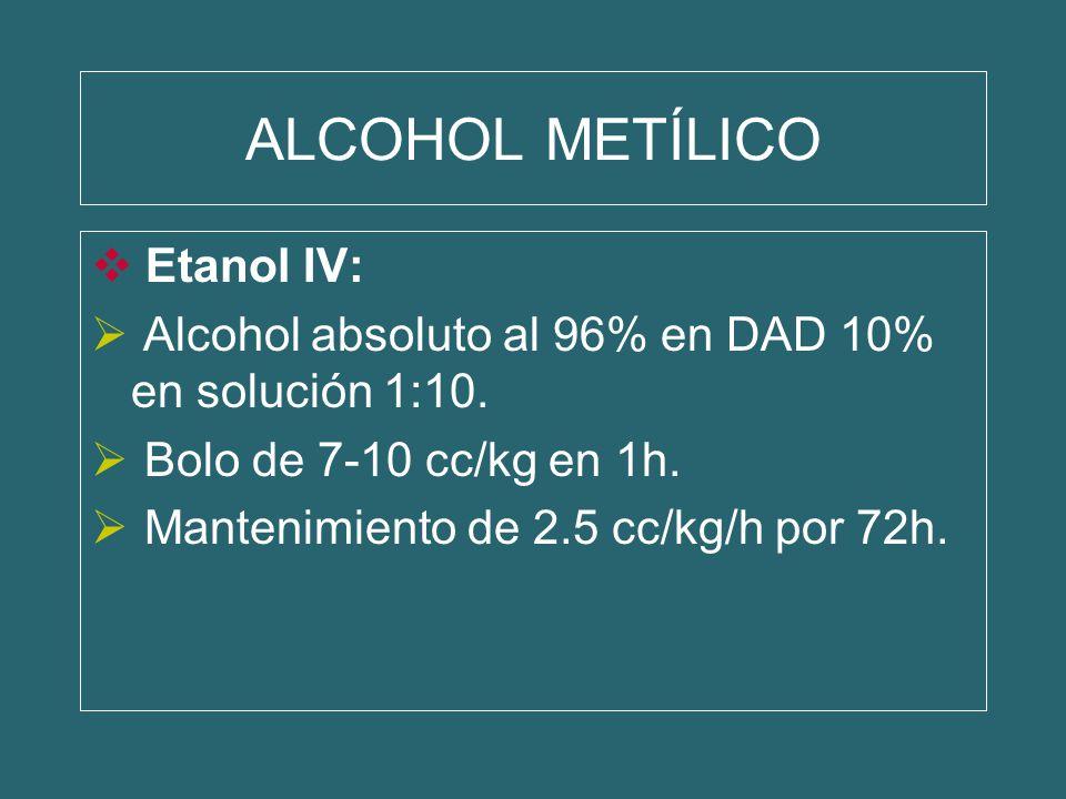 ALCOHOL METÍLICO Etanol IV: Alcohol absoluto al 96% en DAD 10% en solución 1:10. Bolo de 7-10 cc/kg en 1h. Mantenimiento de 2.5 cc/kg/h por 72h.
