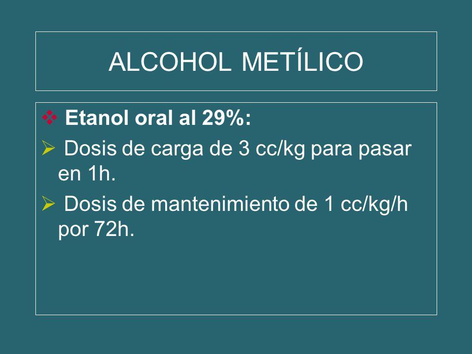 ALCOHOL METÍLICO Etanol oral al 29%: Dosis de carga de 3 cc/kg para pasar en 1h. Dosis de mantenimiento de 1 cc/kg/h por 72h.