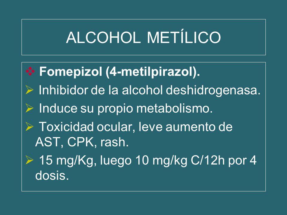 ALCOHOL METÍLICO Fomepizol (4-metilpirazol). Inhibidor de la alcohol deshidrogenasa. Induce su propio metabolismo. Toxicidad ocular, leve aumento de A