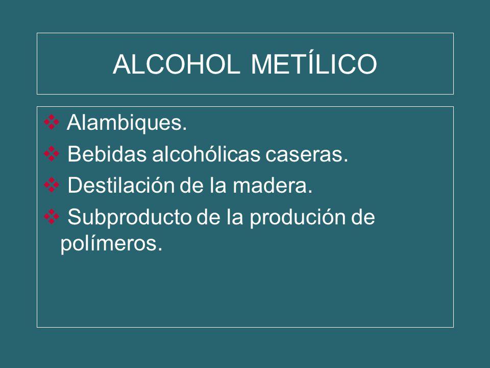 ALCOHOL METÍLICO Alambiques. Bebidas alcohólicas caseras. Destilación de la madera. Subproducto de la produción de polímeros.