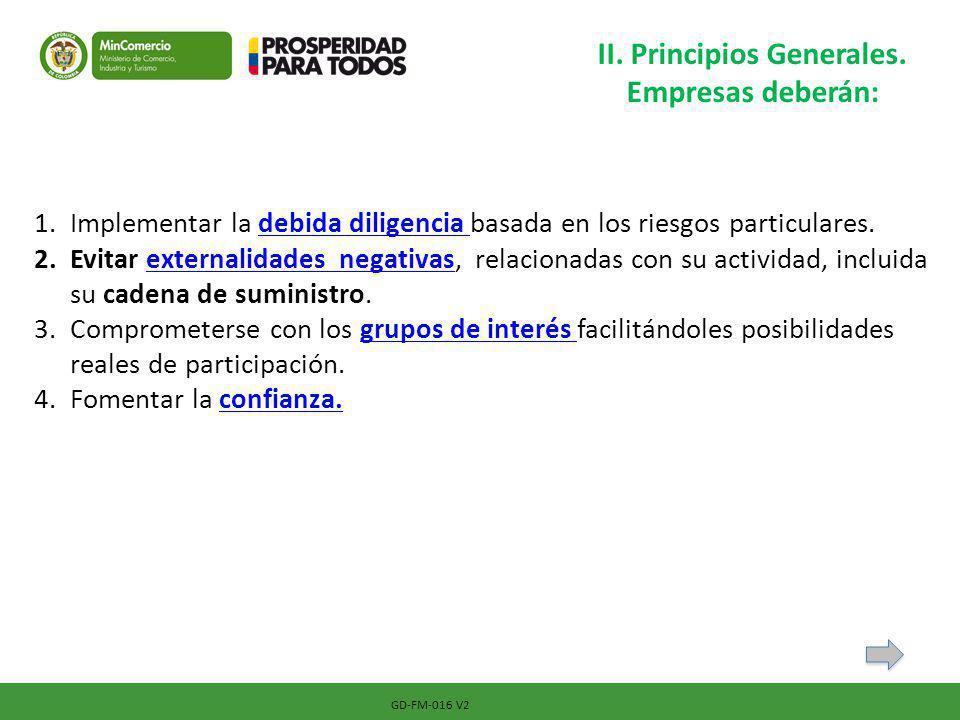 GD-FM-016 V2 II. Principios Generales. Empresas deberán: 1.Implementar la debida diligencia basada en los riesgos particulares.debida diligencia 2.Evi