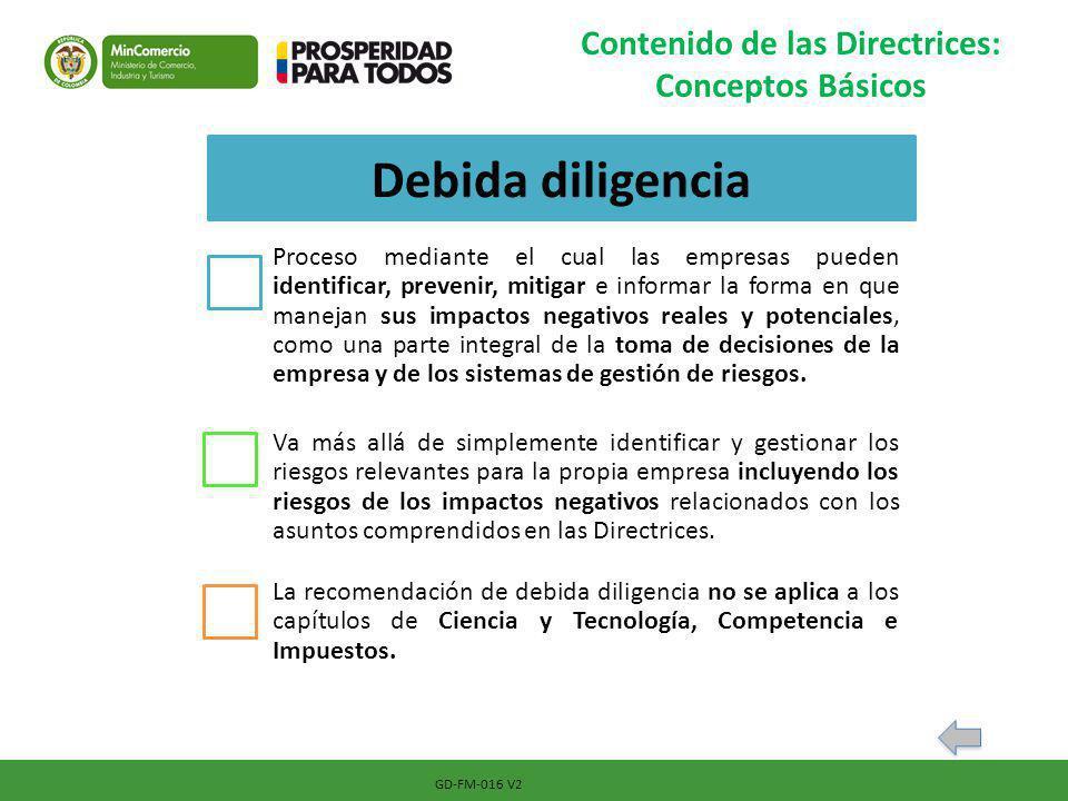 GD-FM-016 V2 Contenido de las Directrices: Conceptos Básicos Debida diligencia Proceso mediante el cual las empresas pueden identificar, prevenir, mit