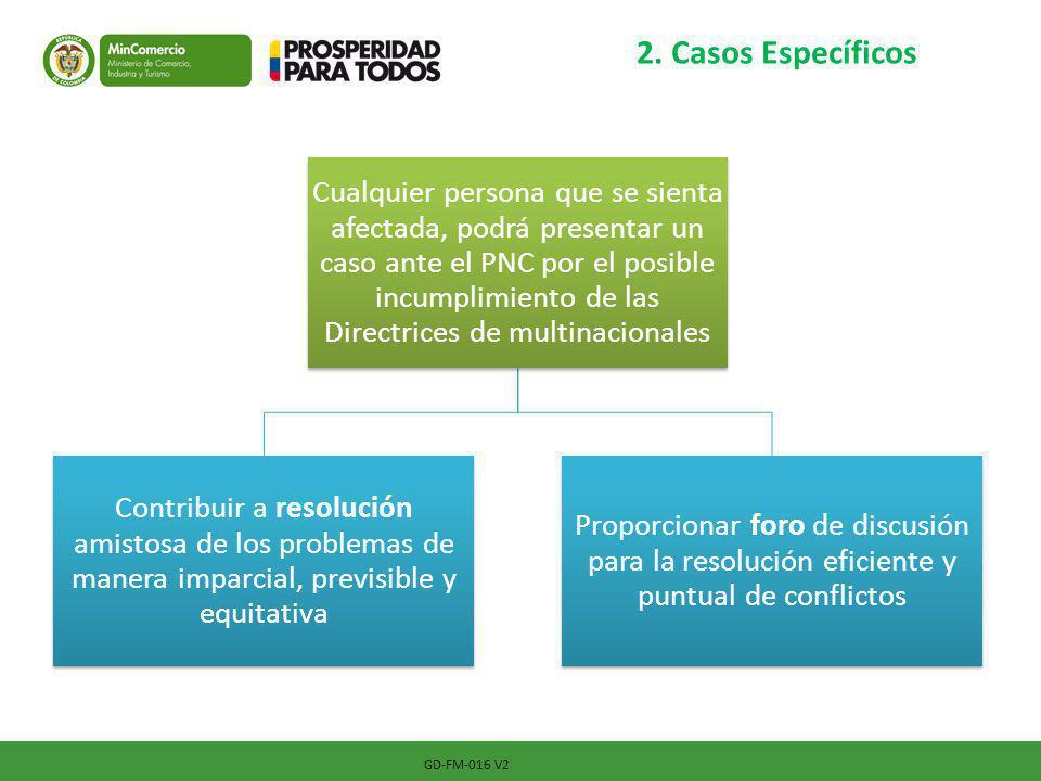 2. Casos Específicos GD-FM-016 V2 Cualquier persona que se sienta afectada, podrá presentar un caso ante el PNC por el posible incumplimiento de las D