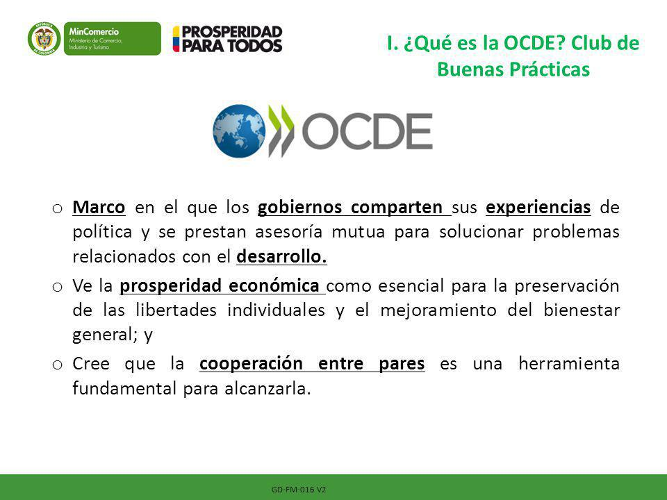 GD-FM-016 V2 I. ¿Qué es la OCDE? Club de Buenas Prácticas o Marco en el que los gobiernos comparten sus experiencias de política y se prestan asesoría