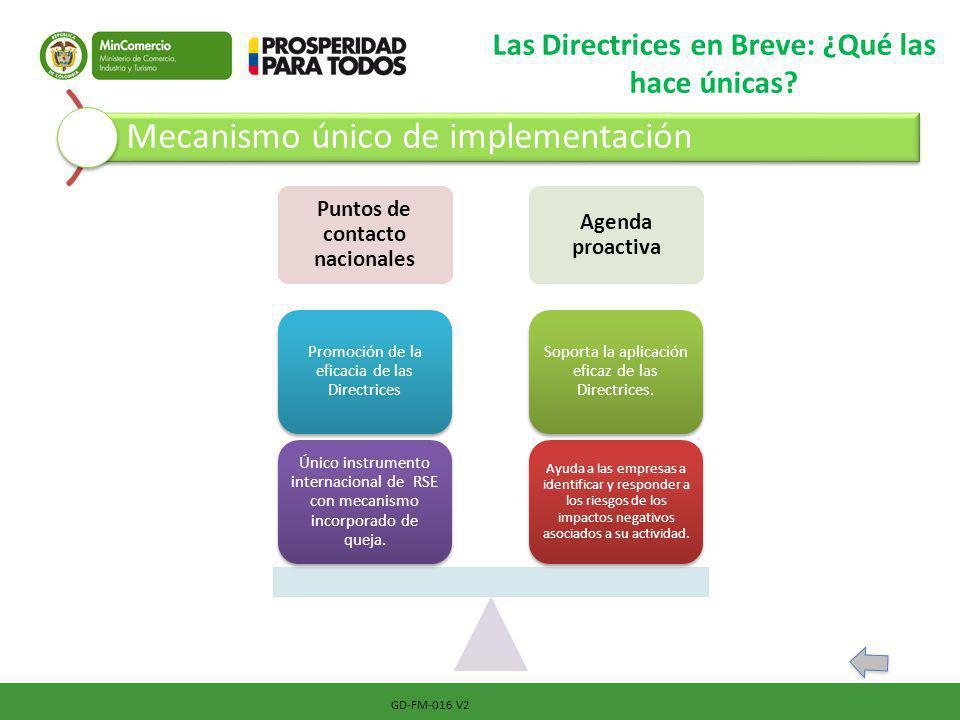 GD-FM-016 V2 Las Directrices en Breve: ¿Qué las hace únicas? Mecanismo único de implementación Puntos de contacto nacionales Agenda proactiva Ayuda a