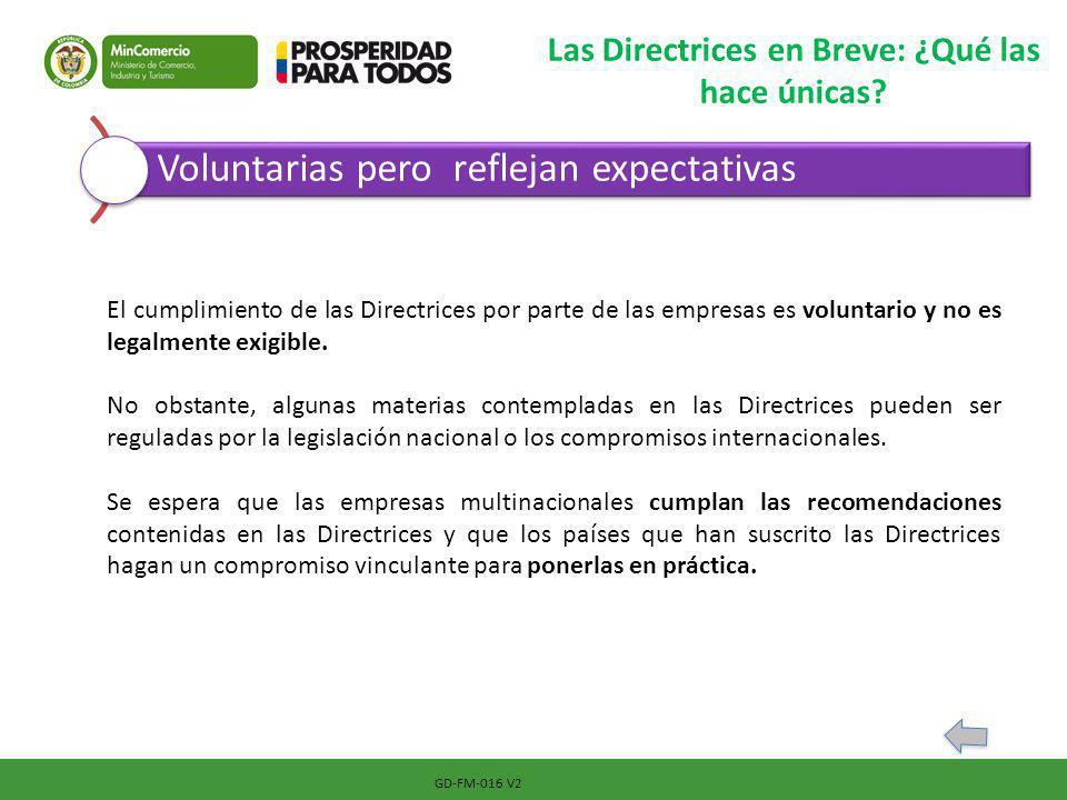GD-FM-016 V2 Las Directrices en Breve: ¿Qué las hace únicas? Voluntarias pero reflejan expectativas El cumplimiento de las Directrices por parte de la