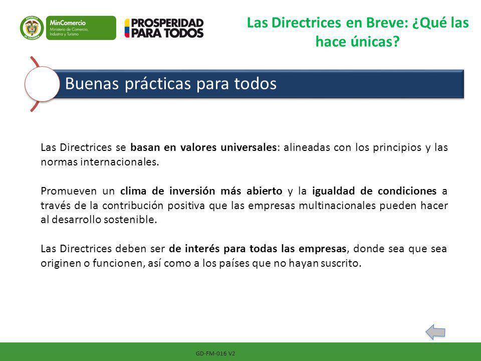 GD-FM-016 V2 Las Directrices en Breve: ¿Qué las hace únicas? Buenas prácticas para todos Las Directrices se basan en valores universales: alineadas co