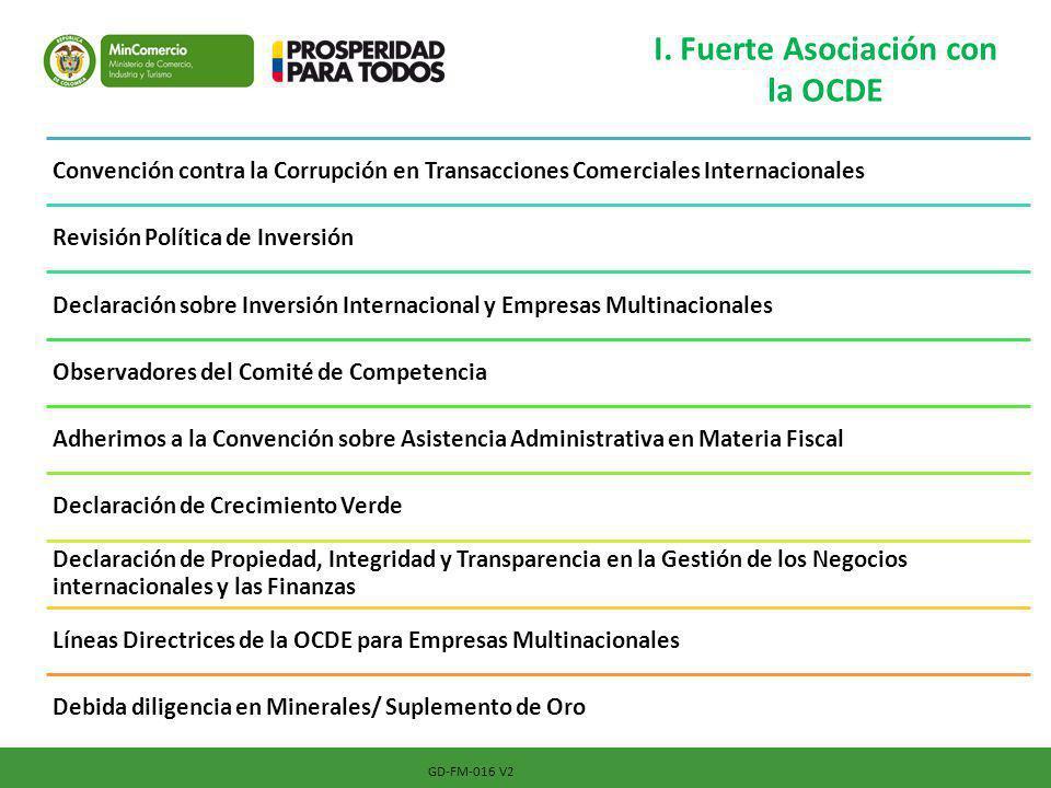 I. Fuerte Asociación con la OCDE GD-FM-016 V2 Convención contra la Corrupción en Transacciones Comerciales Internacionales Revisión Política de Invers