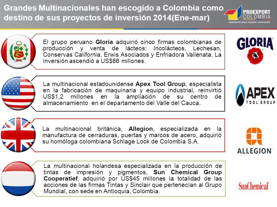 El grupo peruano Gloria adquirió cinco firmas colombianas de producción y venta de lácteos: Incolácteos, Lechesan, Conservas California, Erwis Asociad