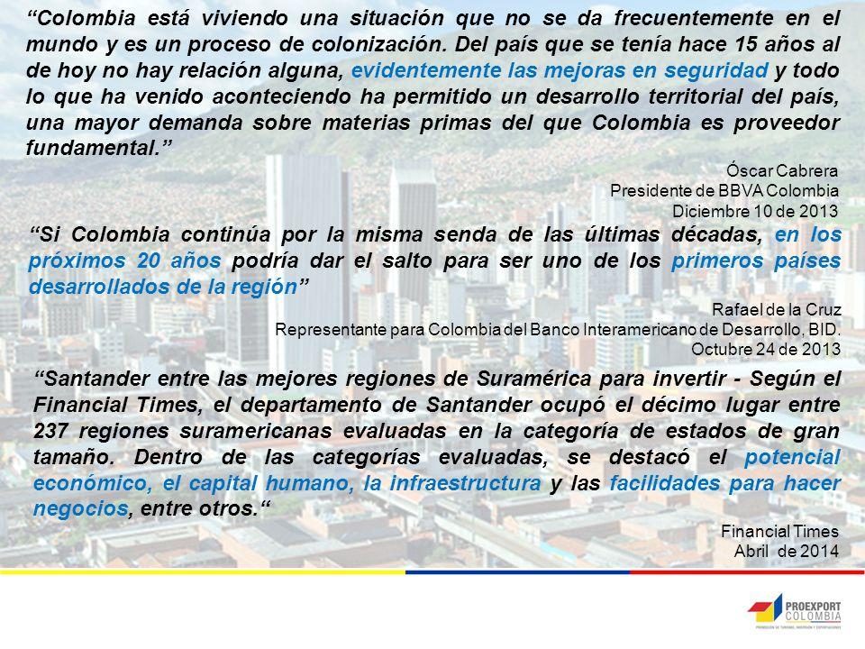 Santander entre las mejores regiones de Suramérica para invertir - Según el Financial Times, el departamento de Santander ocupó el décimo lugar entre