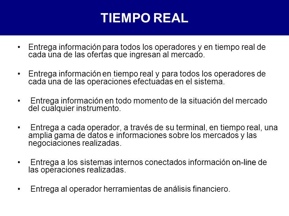 TIEMPO REAL Entrega información para todos los operadores y en tiempo real de cada una de las ofertas que ingresan al mercado.