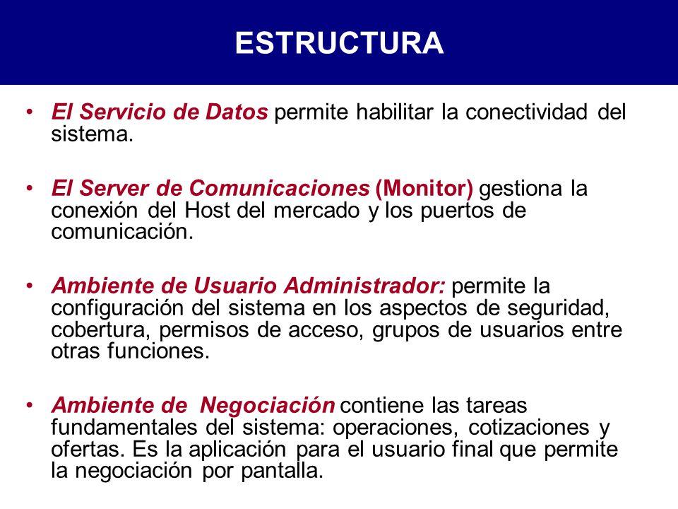 El Servicio de Datos permite habilitar la conectividad del sistema.