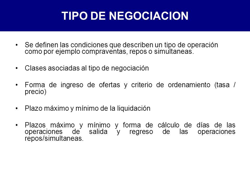 TIPO DE NEGOCIACION Se definen las condiciones que describen un tipo de operación como por ejemplo compraventas, repos o simultaneas.