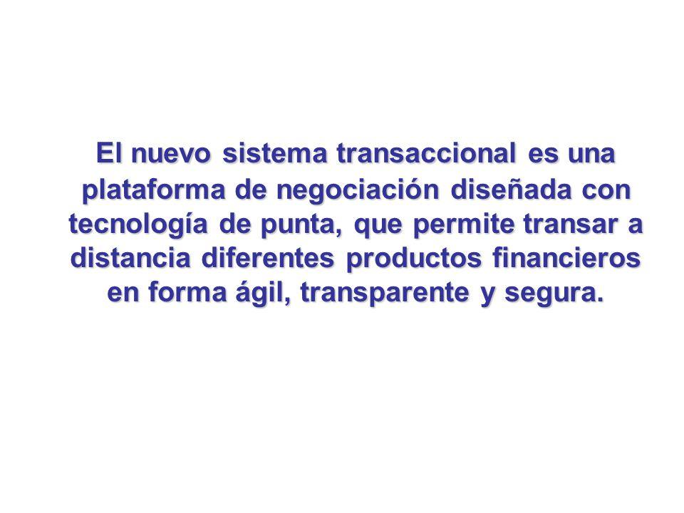 El nuevo sistema transaccional es una plataforma de negociación diseñada con tecnología de punta, que permite transar a distancia diferentes productos financieros en forma ágil, transparente y segura.