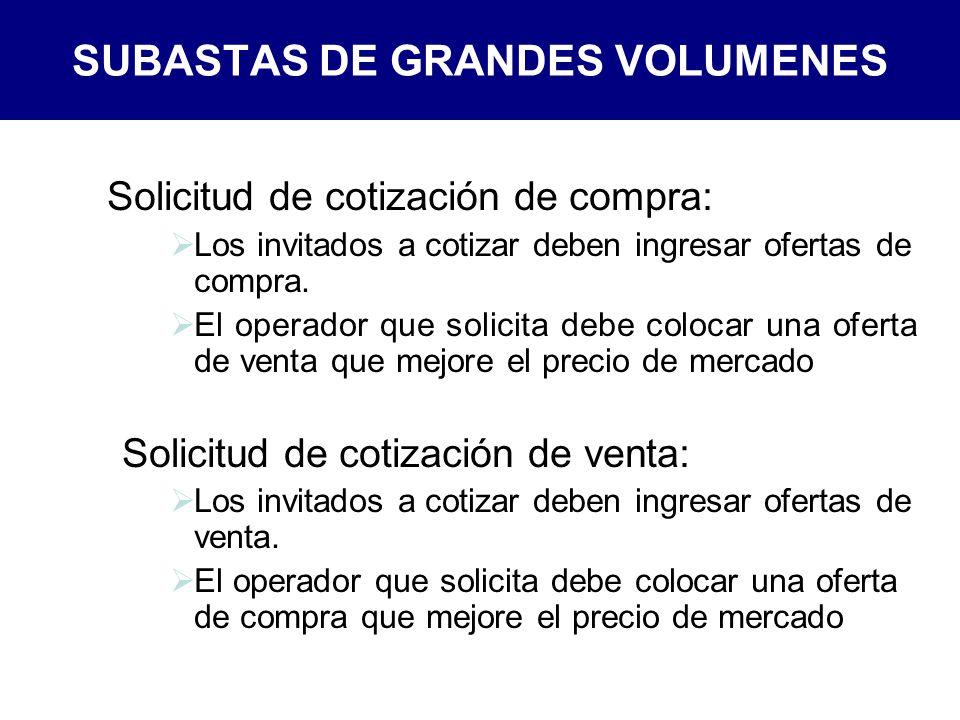 SUBASTAS DE GRANDES VOLUMENES Solicitud de cotización de compra: Los invitados a cotizar deben ingresar ofertas de compra.