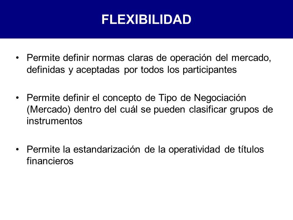 FLEXIBILIDAD Permite definir normas claras de operación del mercado, definidas y aceptadas por todos los participantes Permite definir el concepto de Tipo de Negociación (Mercado) dentro del cuál se pueden clasificar grupos de instrumentos Permite la estandarización de la operatividad de títulos financieros
