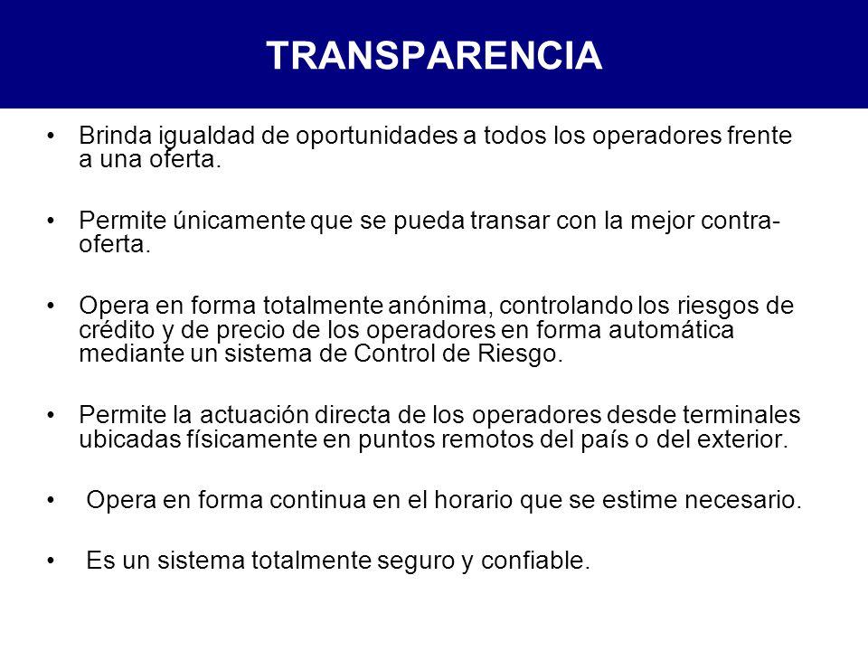 TRANSPARENCIA Brinda igualdad de oportunidades a todos los operadores frente a una oferta.