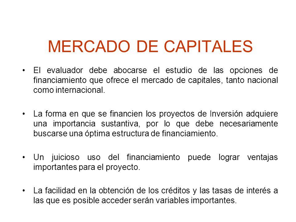 MERCADO DE CAPITALES El evaluador debe abocarse el estudio de las opciones de financiamiento que ofrece el mercado de capitales, tanto nacional como i