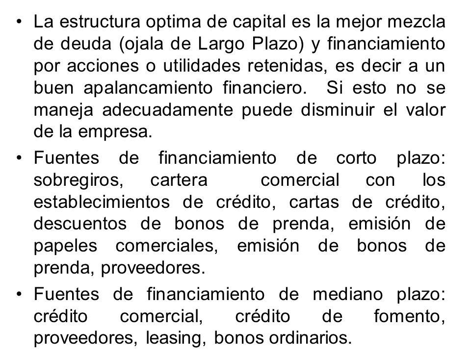 La estructura optima de capital es la mejor mezcla de deuda (ojala de Largo Plazo) y financiamiento por acciones o utilidades retenidas, es decir a un