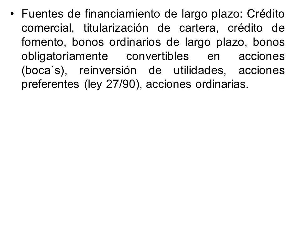 Fuentes de financiamiento de largo plazo: Crédito comercial, titularización de cartera, crédito de fomento, bonos ordinarios de largo plazo, bonos obl