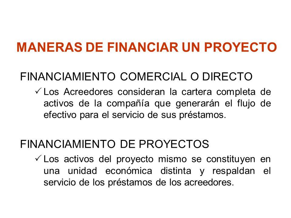 MANERAS DE FINANCIAR UN PROYECTO FINANCIAMIENTO COMERCIAL O DIRECTO Los Acreedores consideran la cartera completa de activos de la compañía que genera