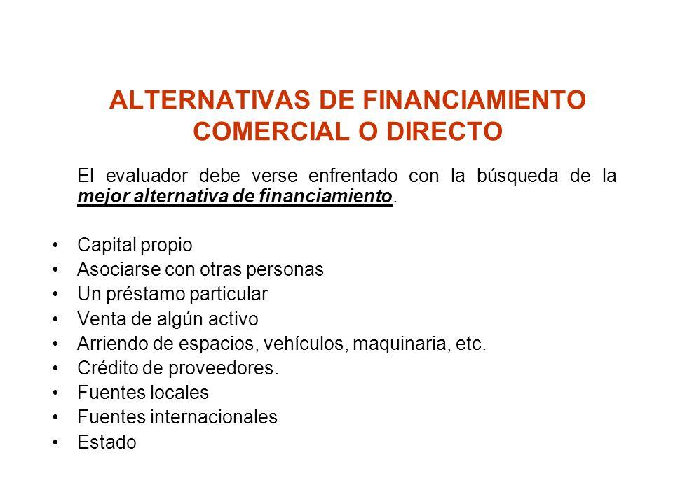 ALTERNATIVAS DE FINANCIAMIENTO COMERCIAL O DIRECTO El evaluador debe verse enfrentado con la búsqueda de la mejor alternativa de financiamiento. Capit
