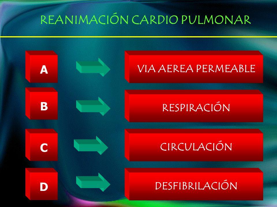 A B C VIA AEREA PERMEABLE RESPIRACIÓN CIRCULACIÓN D DESFIBRILACIÓN REANIMACIÓN CARDIO PULMONAR