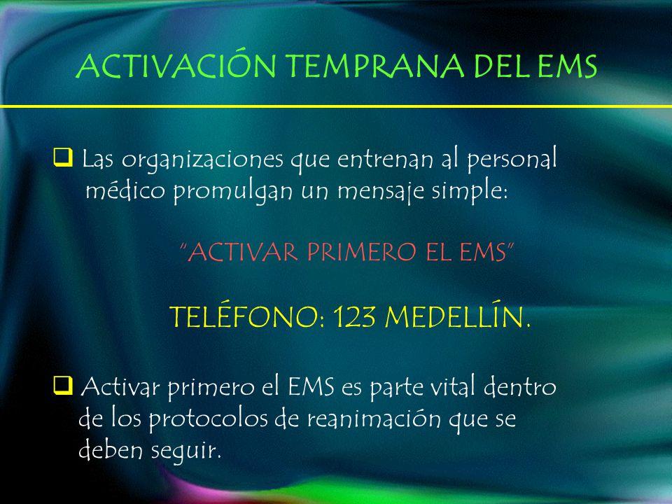 Las organizaciones que entrenan al personal médico promulgan un mensaje simple: ACTIVAR PRIMERO EL EMS TELÉFONO: 123 MEDELLÍN. Activar primero el EMS