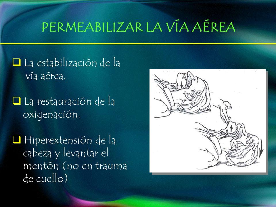 La estabilización de la vía aérea. La restauración de la oxigenación. Hiperextensión de la cabeza y levantar el mentón (no en trauma de cuello) PERMEA