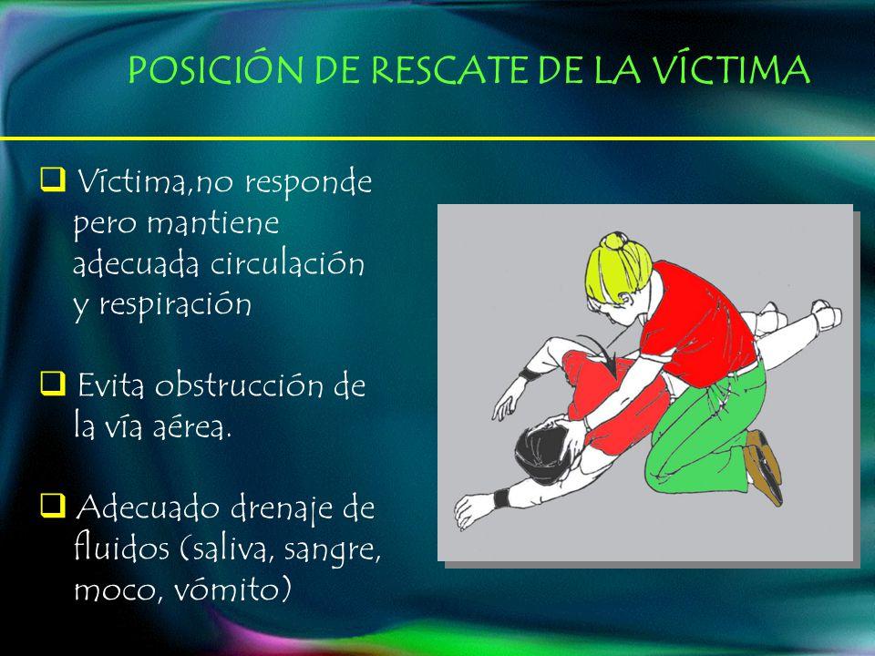 POSICIÓN DE RESCATE DE LA VÍCTIMA Víctima,no responde pero mantiene adecuada circulación y respiración Evita obstrucción de la vía aérea. Adecuado dre