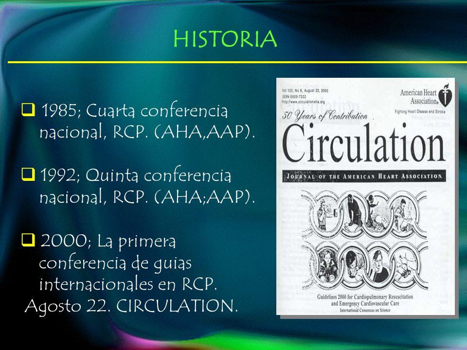 1985; Cuarta conferencia nacional, RCP. (AHA,AAP). 1992; Quinta conferencia nacional, RCP. (AHA;AAP). 2000; La primera conferencia de guias internacio