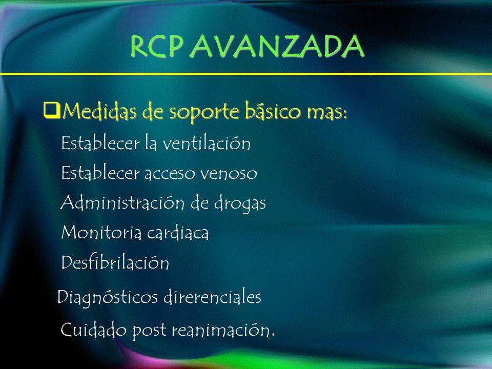 RCP AVANZADA Medidas de soporte básico mas: Medidas de soporte básico mas: Establecer la ventilación Establecer acceso venoso Administración de drogas Monitoria cardiaca Desfibrilación Diagnósticos direrenciales Cuidado post reanimación.