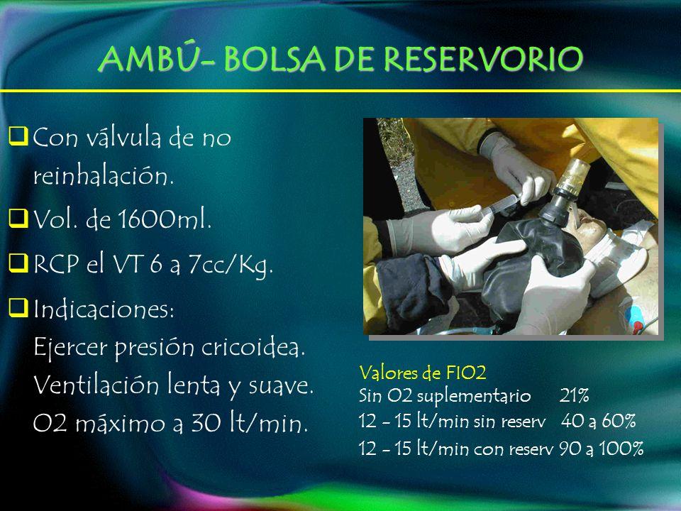 AMBÚ- BOLSA DE RESERVORIO Valores de FIO2 Sin O2 suplementario 21% 12 - 15 lt/min sin reserv 40 a 60% 12 - 15 lt/min con reserv 90 a 100% Con válvula