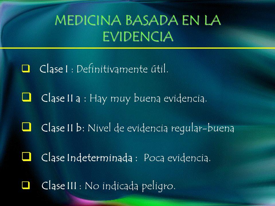 MEDICINA BASADA EN LA EVIDENCIA Clase I : Definitivamente útil. Clase II a : Hay muy buena evidencia. Clase II b : Nivel de evidencia regular-buena Cl